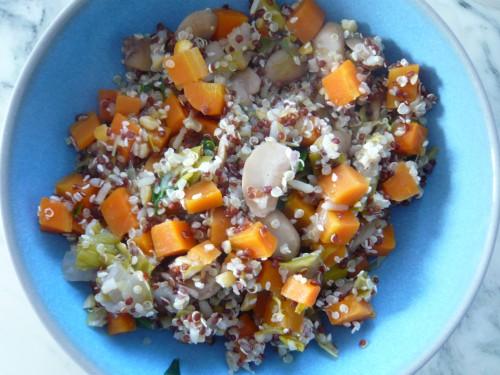 quinori,quinoa,salade d'hiver,salade de céréales,déjeuner rapide,légumes d'hiver,repas facile,cuisine du placard