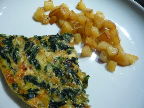 oeuf,omelette,chèvre,épinards,diner vite prêt,repas complet,hiver