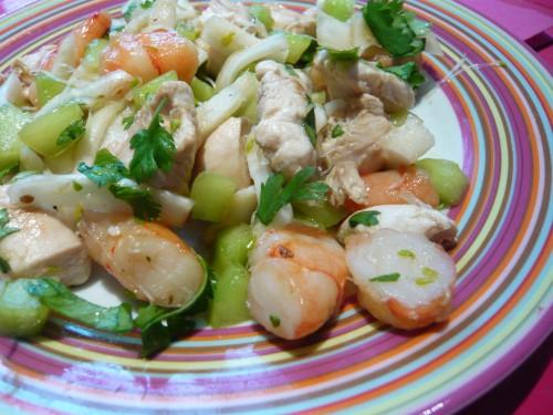 salade,cuisine des restes,poulet,improvisation culinaire,légumes