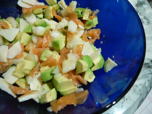 alimentation, cuisine, ester kitchen, laure kie, cuisine japonaise, salade, saumon fumé, cuisine du placard