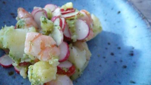 alimentation,cuisine,pommes de terre primeur,crevettes,radis,pascale weeks,blogs de cuisine,printemps