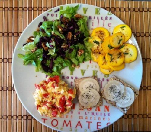 assiette composée, concours, repas facile, assortiment, crudités, restes