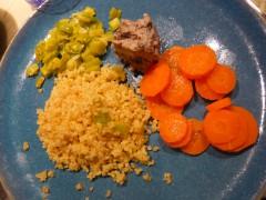 improvisation en cuisine,cuisine domino,légumes,boulgour,le goût est dans le pré,assiette composée,cuisine des restes,anti-gaspi,gaspillage alimentaire